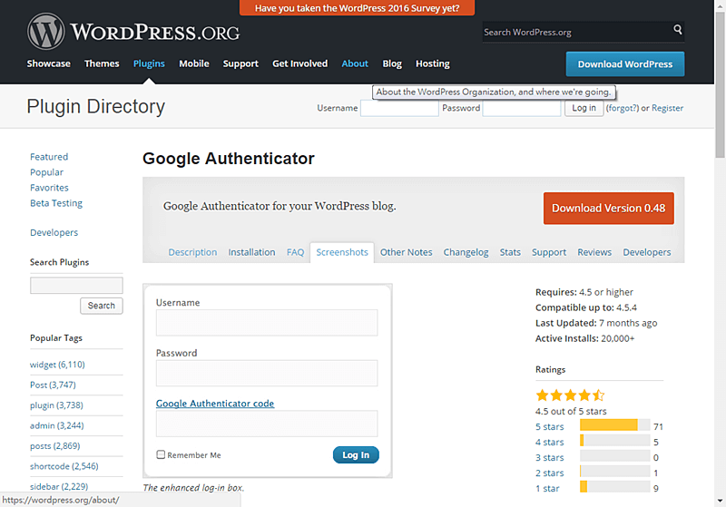 Google Authenticator for WordPress blog